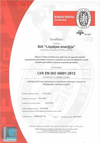 Liepāja. Liepājas enerģija saņem energopārvaldības sertifikātu